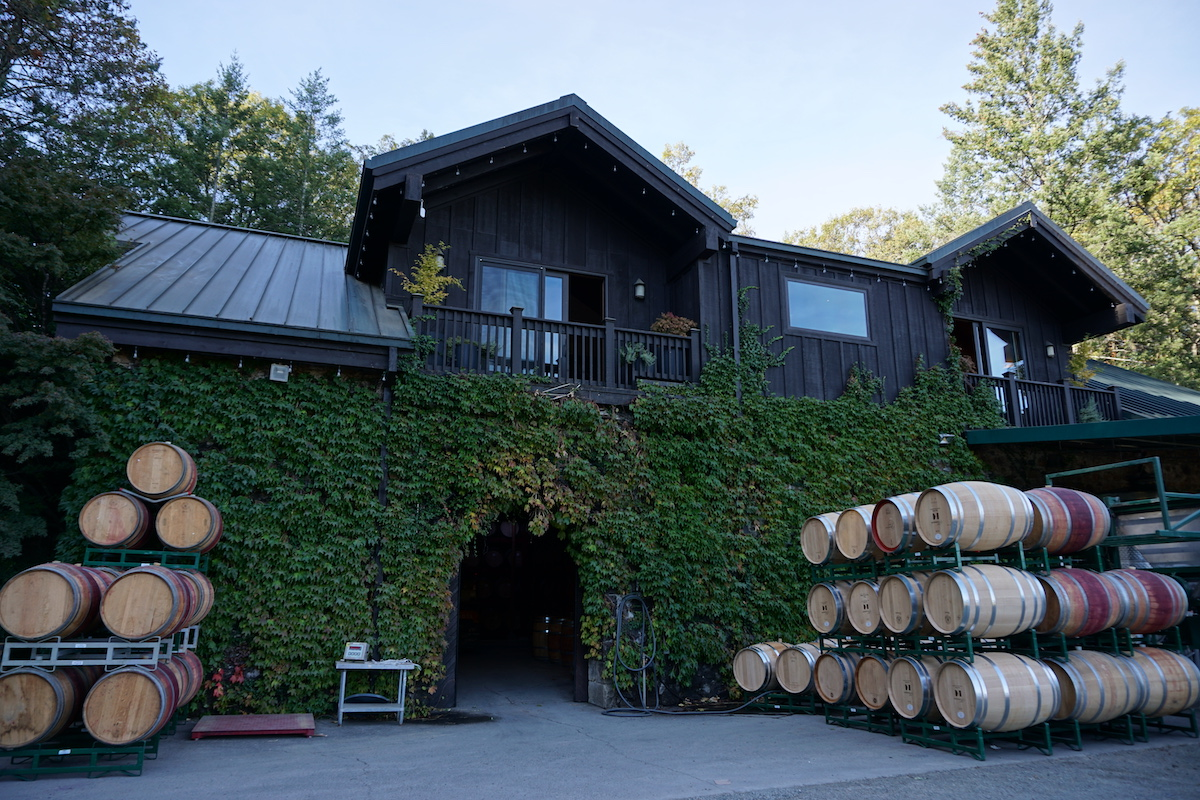 Keenan Winery and Cellar with Barrels Outside